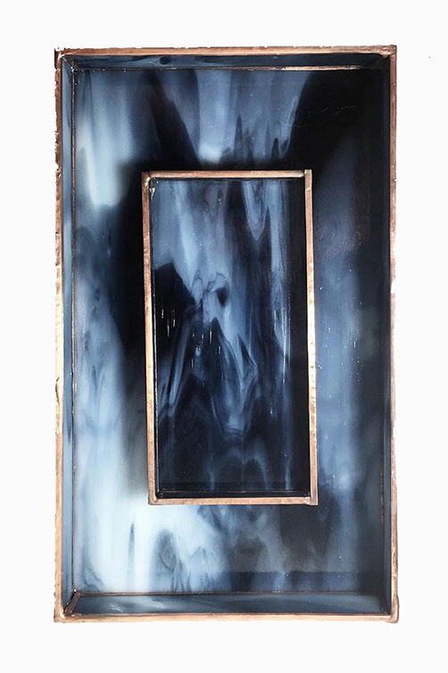 Blue Black Marbled Stained Glass Trays Debbie Bean2