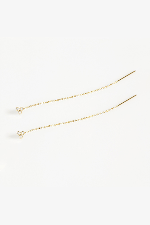 clover long chain earrings